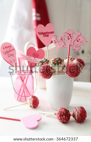 Closeup of cake pops with decorations for Valentine's Day - stock photo