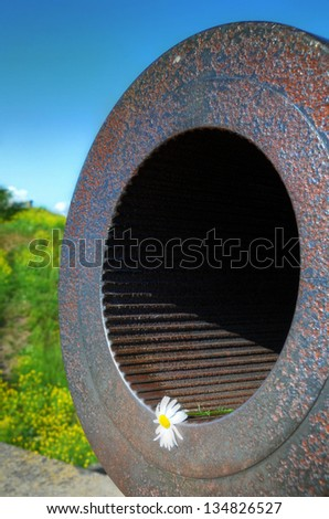 Closeup of canon in Suomenlinna fortress, Helsinki, Finland - stock photo