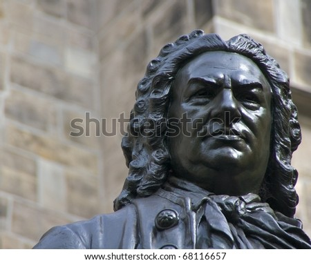 Closeup of Carl Seffner's 1908 statue of J.S. Bach in front of St. Thomas Church, Leipzig, Germany - stock photo