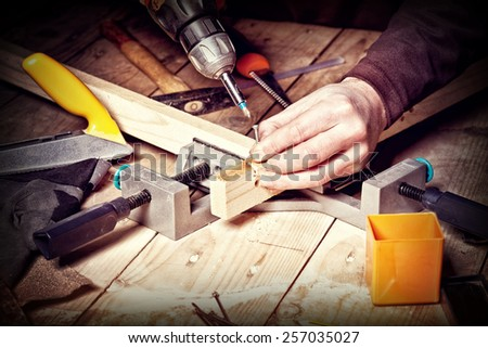 closeup of carpenter work with  tools - stock photo