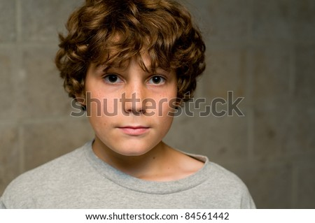 closeup of caucasian boy - stock photo