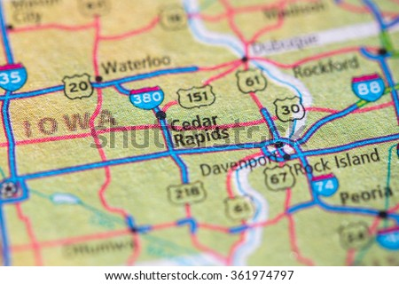 Closeup of Cedar Rapids on a geographical map. - stock photo