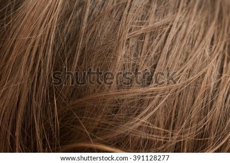 Closeup of chestnut natural hair texture     - stock photo