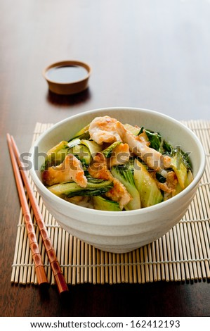 Closeup of chicken and bok choy stir fry - stock photo
