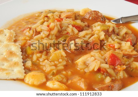 Closeup of chicken and rice gumbo with sausage - stock photo