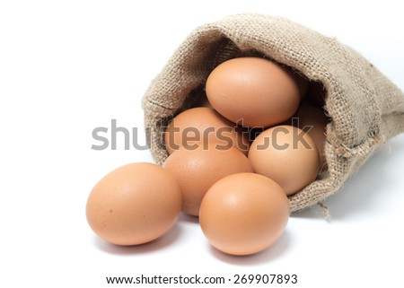 Closeup of Chicken eggs in the sackcloth - stock photo
