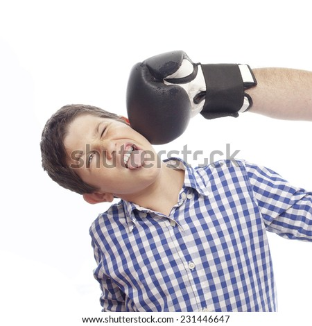 closeup of child with boxing gloves - stock photo