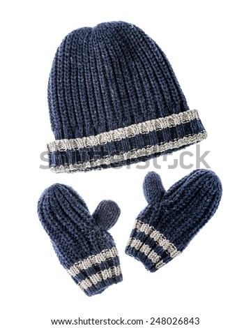 Closeup of children's accessories for winter, consist of a knitted hat and gloves. - stock photo