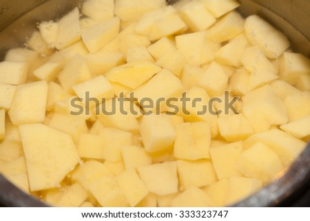 Closeup of chopped potatoes underwater in pan - stock photo