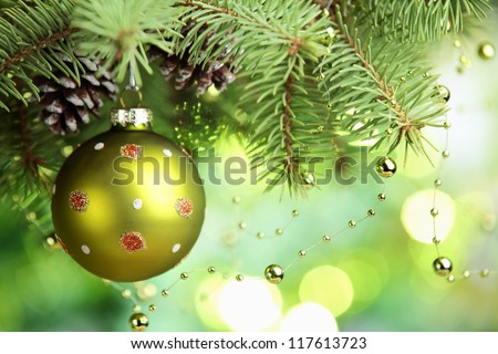 Closeup of Christmas ball from Christmas tree. - stock photo