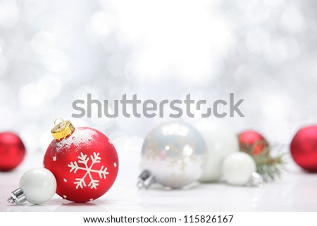 Closeup of Christmas balls on abstract background - stock photo