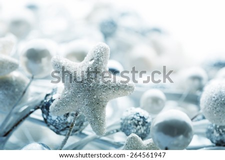 Closeup of christmas decoration bulbs. Toned in blue - stock photo