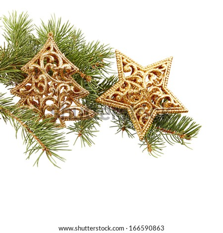 Closeup of Christmas decorations and fir branch  - stock photo