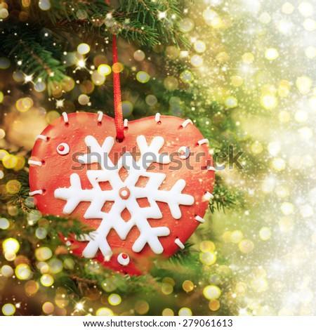 Closeup of Christmas-tree - stock photo