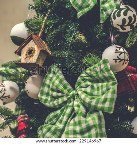 Closeup of Christmas-tree decorations - stock photo