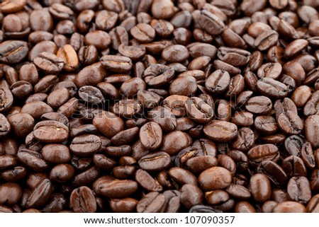 Closeup of coffee beans - stock photo
