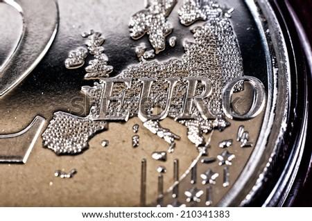 Closeup of coin 2 euro - stock photo