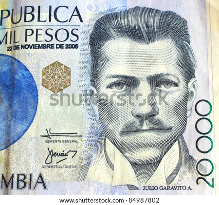 Closeup of Colombian currency - stock photo