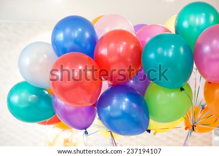 closeup of Colorful air balloons - stock photo