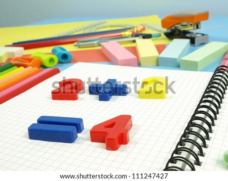 Closeup of colorful children's plastic numbers - stock photo