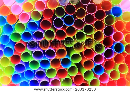 Closeup of colorful drinking straws, - stock photo