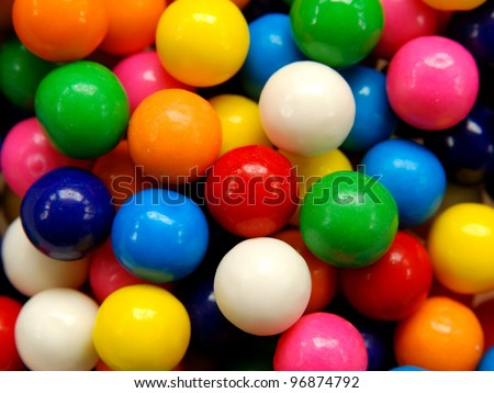 Closeup of colorful gumballs - stock photo