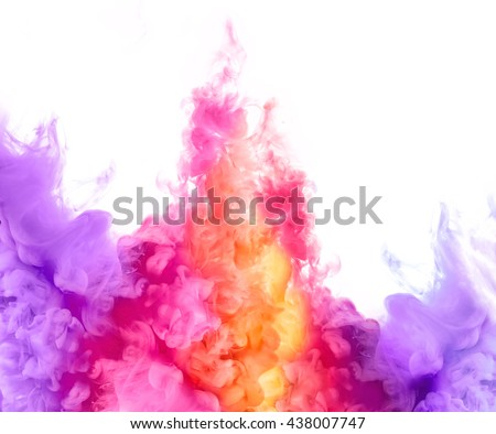 Closeup of colorful ink in water isolated on white background. Paint texture. Color Explosion - stock photo