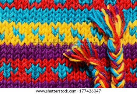 Closeup of colorful knitted background - stock photo