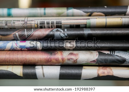 Closeup of colorful newspapers - stock photo