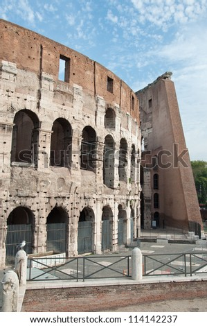 Closeup of Colosseum in Rome - stock photo