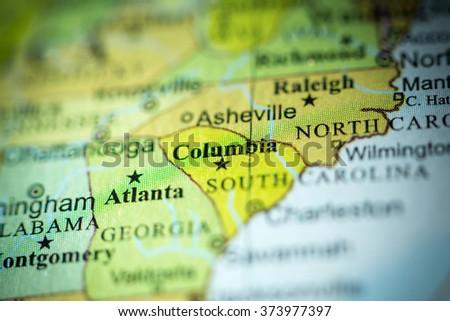 Closeup of Columbia, South Carolina on a political map of USA. - stock photo