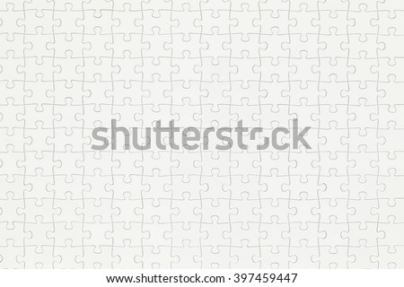 Closeup of Completed White Puzzle With Copy Space. - stock photo