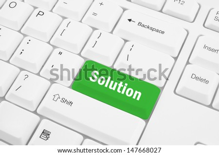 Closeup of computer keyboard with button solution - stock photo