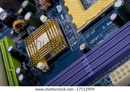 Closeup of computer motherboard with details. - stock photo