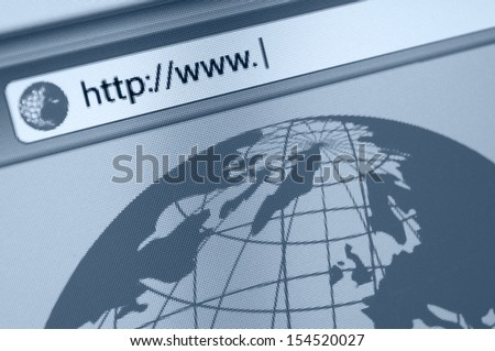 Closeup of Computer Screen With Favicon and URL Address Bar in Fictitious Web Browser - Shallow Depth of Field - stock photo