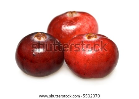 Closeup of cranberries isolated on white background. - stock photo