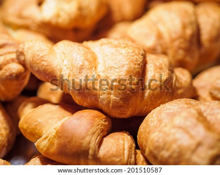 closeup of croissants for breakfast - stock photo