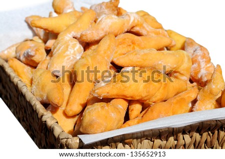 Closeup of delicious fritters with sugar powder - stock photo