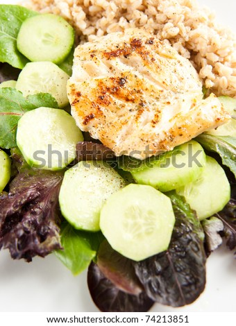 Closeup of Dinner Plate with Grilled Cod and Vegetables - stock photo