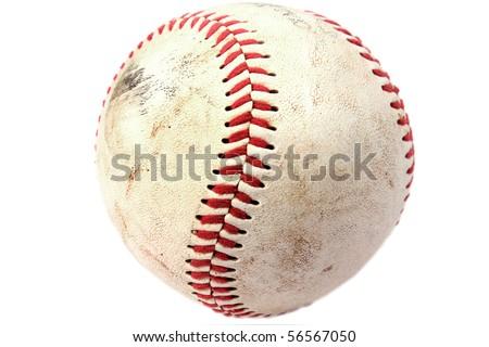 Closeup of dirty baseball - stock photo