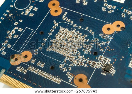 Closeup of dirty electronic motherboard - stock photo