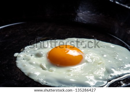 Closeup of eggs fried on a pan - stock photo