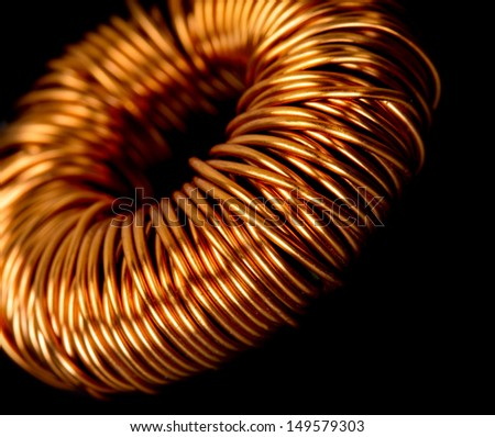 Closeup of electrical copper transformer - stock photo