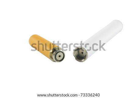 Closeup of electronic cigarette over white surface - stock photo