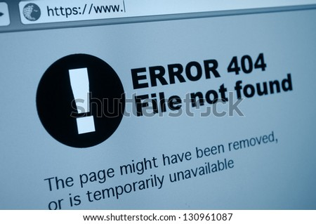 Closeup of 404 Error Sign in Internet Browser on LCD Screen - stock photo