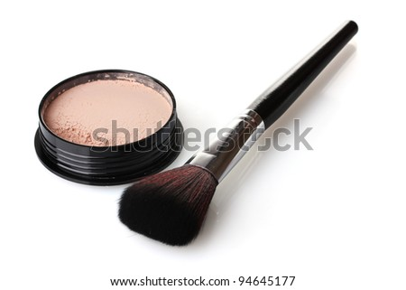 closeup of face powder and brush isolated on white - stock photo
