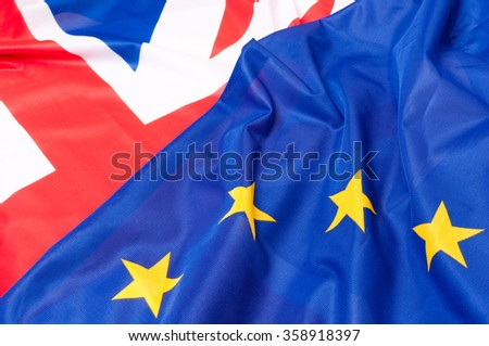 Closeup of Flags of Great Britain and European Union - stock photo