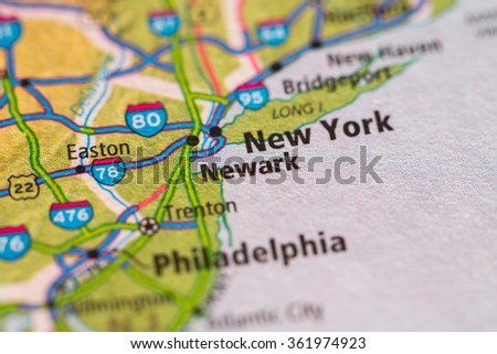 Closeup of Florida on a geographical map. - stock photo