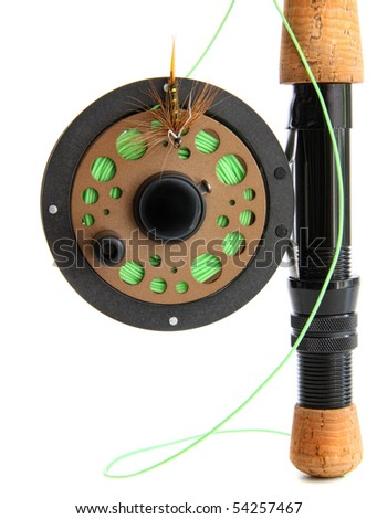 Closeup of fly fishing rod on white background - stock photo