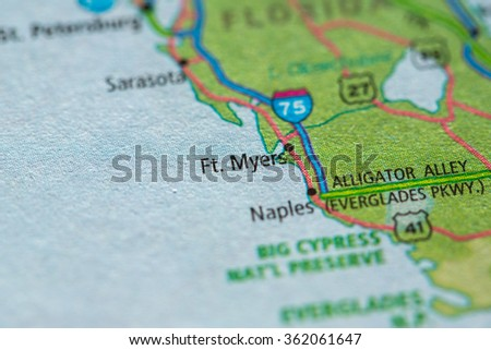 Closeup of Fort Myers on a geographical map. - stock photo